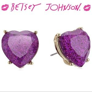 Betsey Johnson Not Your Babe Purple Heart Earrings